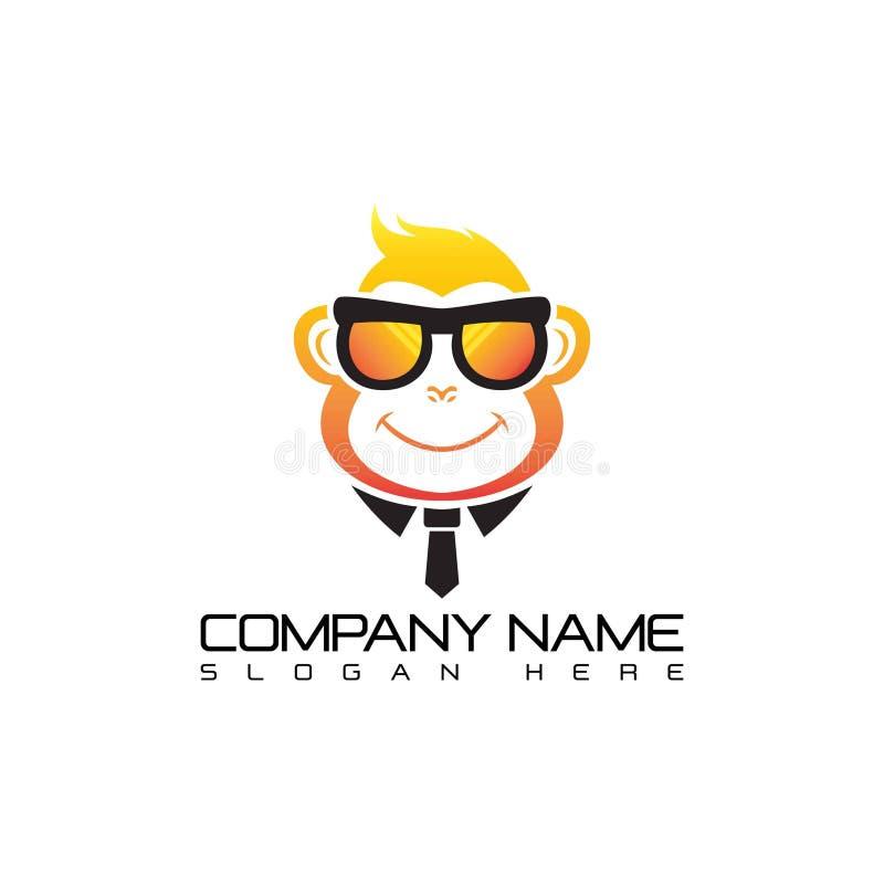 Cool Monkey Logo Template. Monkey with glasses mascot cartoon sign. Vector Illustration vector illustration