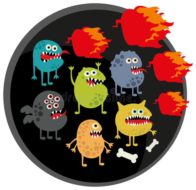 Download Cool monsters with fire. stock vector. Image of halloween - 33184246