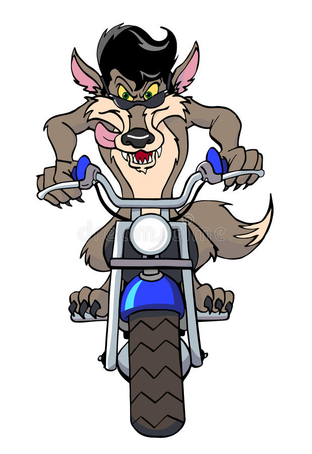 Cool Motorcycle Wolf Stock Illustration
