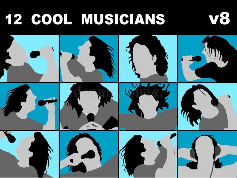 Cool musicians singing karaoke vector illustration