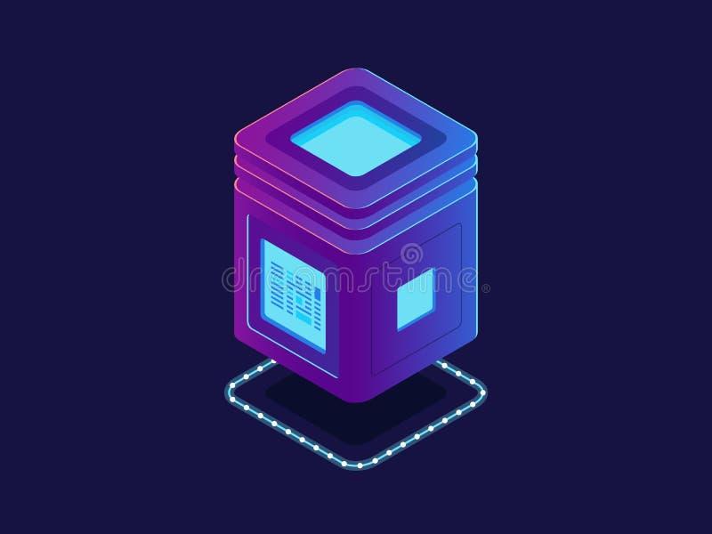 Cool neon server, processing unit, cloud storage database, isometric vector information warehouse, digital vector illustration