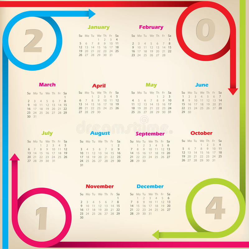 Download Cool New 2014 Calendar With Arrow Ribbons Stock Vector - Image: 33932363
