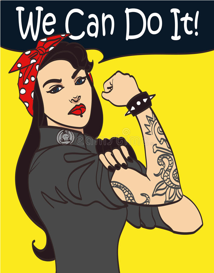 Cool nice drawn vector subculture punk gothic woman with signature we can do it. In layers, eps 10 vector illustration