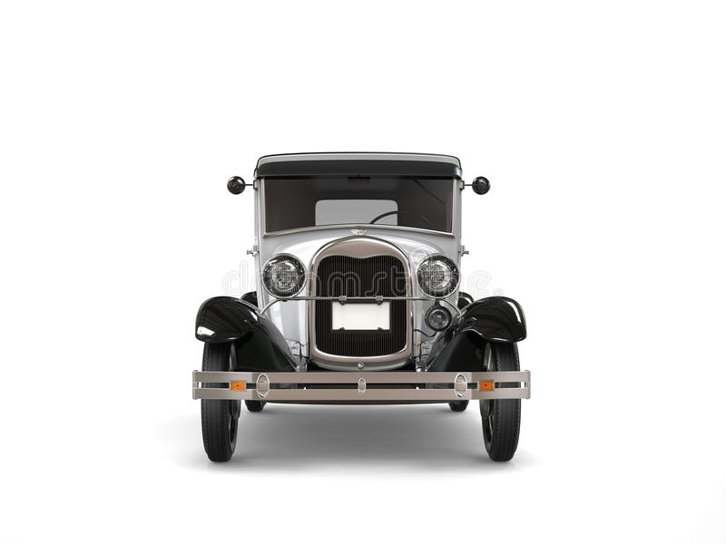Cool oldtimer silver vintage car - front view stock illustration
