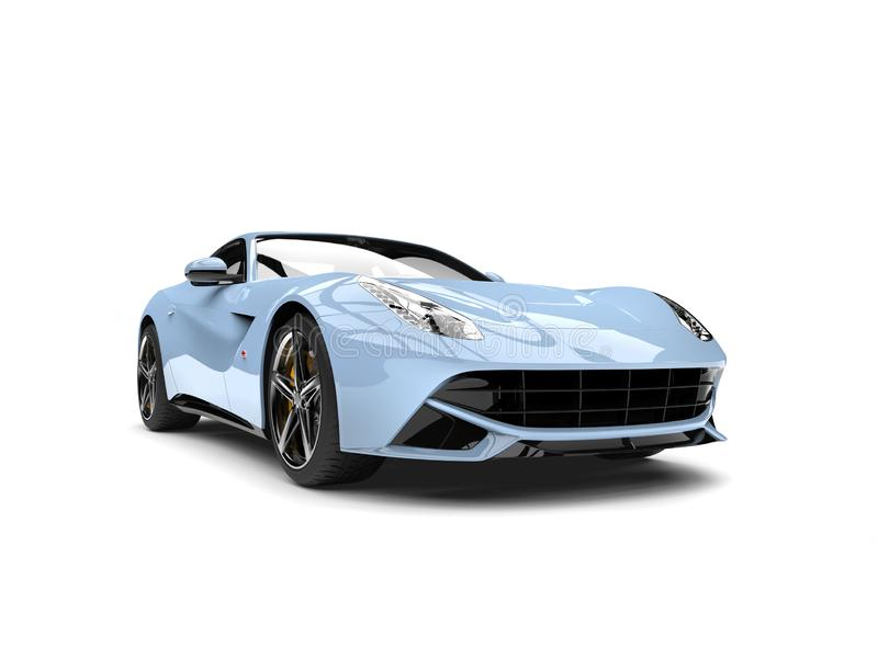 Cool pale blue modern concept car - front view. Isolated on white background stock illustration