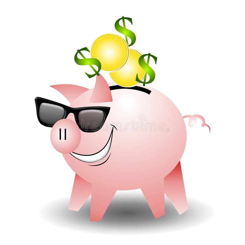 Cool Piggbank Wearing Sunglasses. An illustration featuring a piggybank with gold coins and dollar sign wearing sunglasses and a smile on his face. That's one