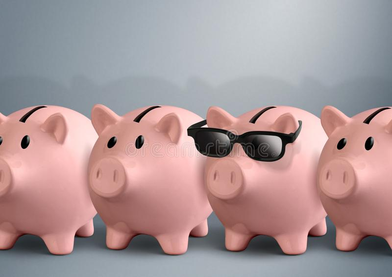 Cool piggy bank with glasses, finance concept stock photo