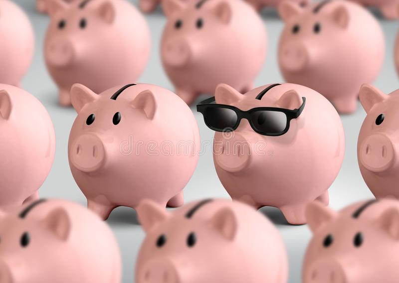 Cool piggy bank with glasses, finance concept stock photography