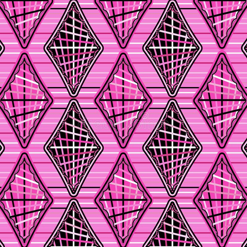 Cool pink diamonds in a pattern over horizontal stripes royalty free illustration
