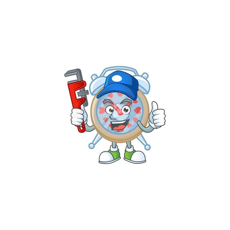 Cool Plumber clock love no estilo de imagem mascot ilustração stock