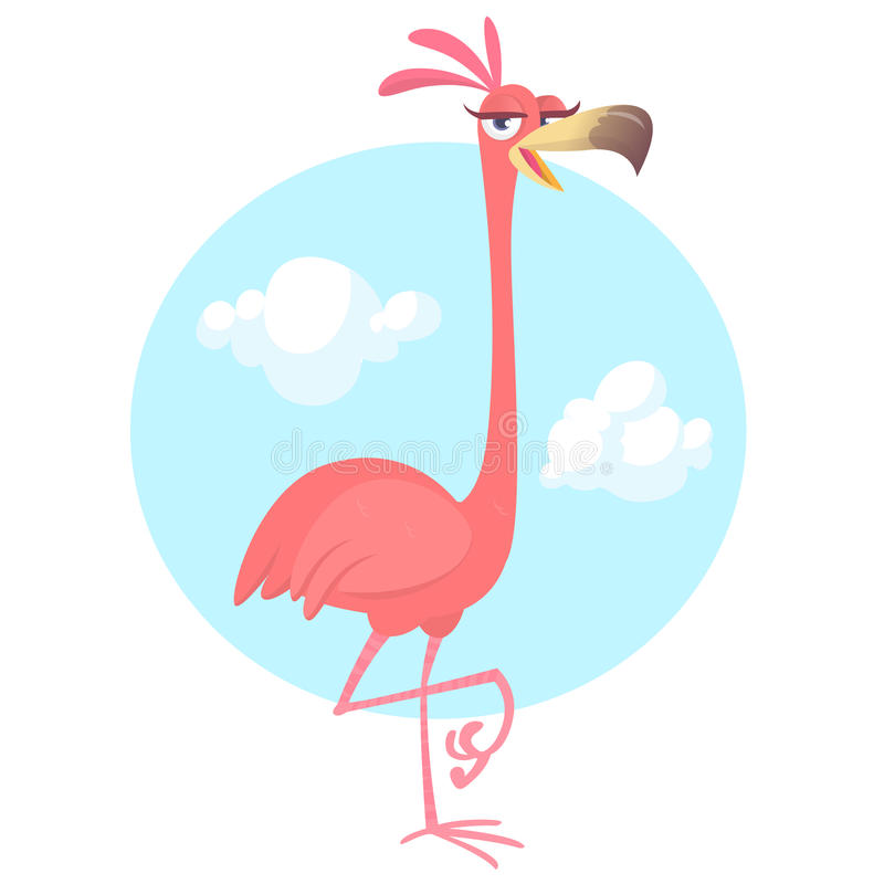 Cool pretty cartoon pink flamingo. Vector illustration. Isolated. Poster design of sticker stock illustration