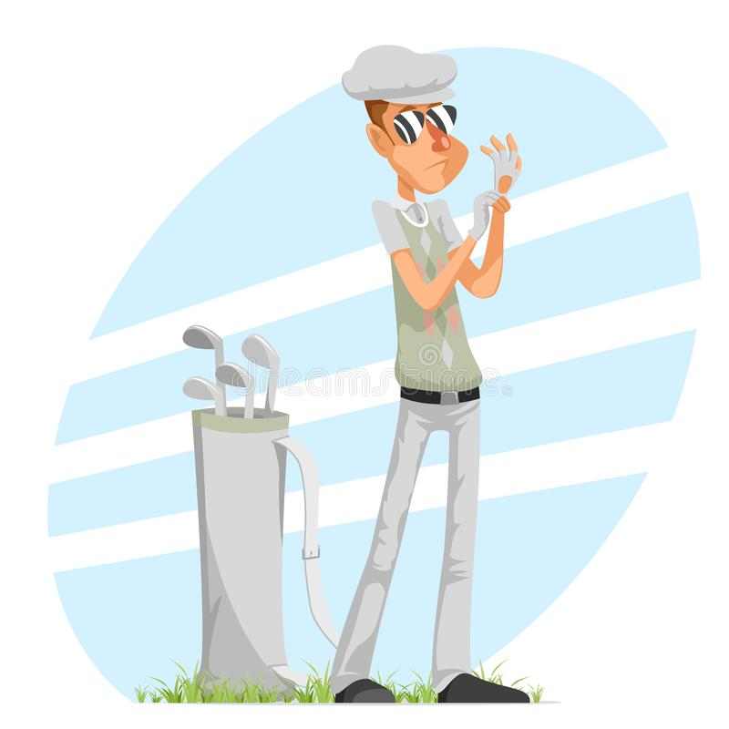 Cool professional golfer player adjusts glove champion golf club isolated cartoon character design vector illustration. Cool professional golfer player adjusts vector illustration