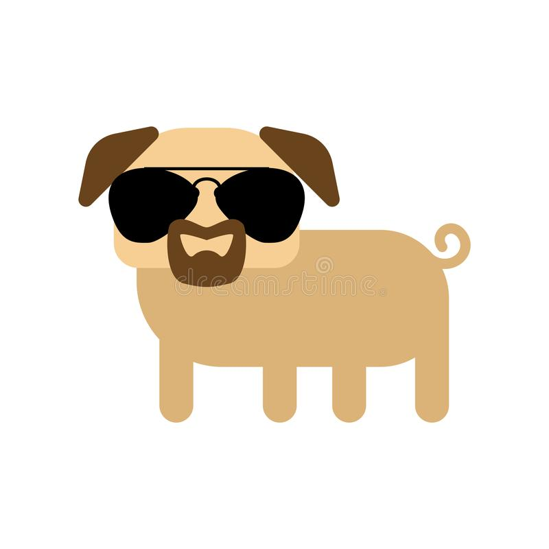 Cool pug with glasses and goatee beard.  stock illustration