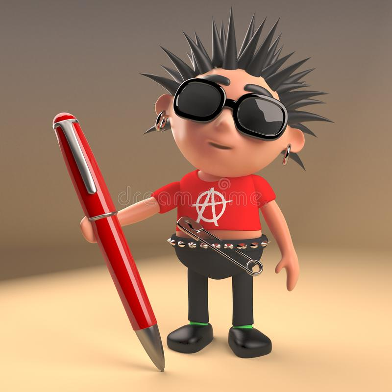 Cool punk rocker with spikey hair holding a red pen, 3d illustration. Render vector illustration