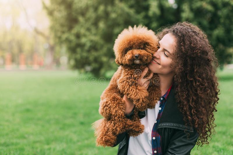 Cool puppy and young woman having fun in park royalty free stock images