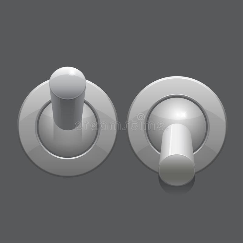 Cool Realistic Toggle Switch grey color. Vector stock illustration