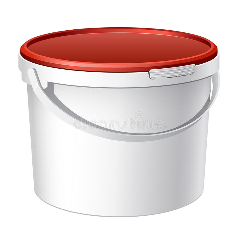 Cool Realistic White Plastic Bucket. Vector Royalty Free Stock Photos