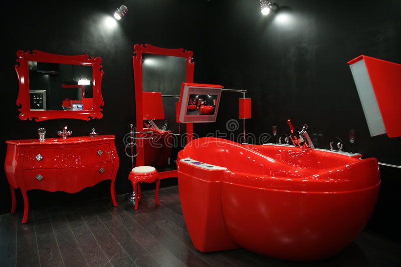Cool red bathroom stock images
