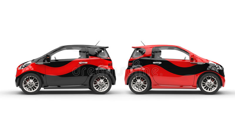 Cool Red and Black Cars. Cool Red and Black Compact Cars stock photos