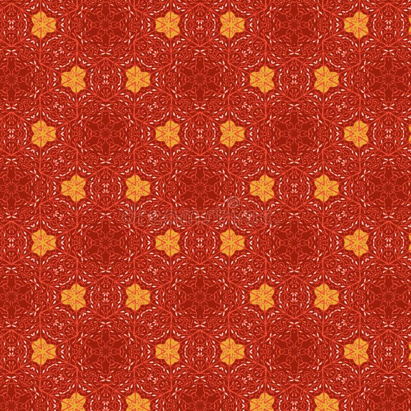 Cool red floral textured seamless pattern with orange elements in a symmetrical design. Bright floral seamless vector pattern with unique texture for textile stock illustration