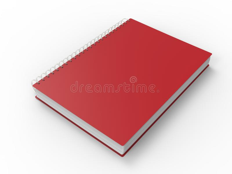 Cool red spiral binding notebook stock illustration