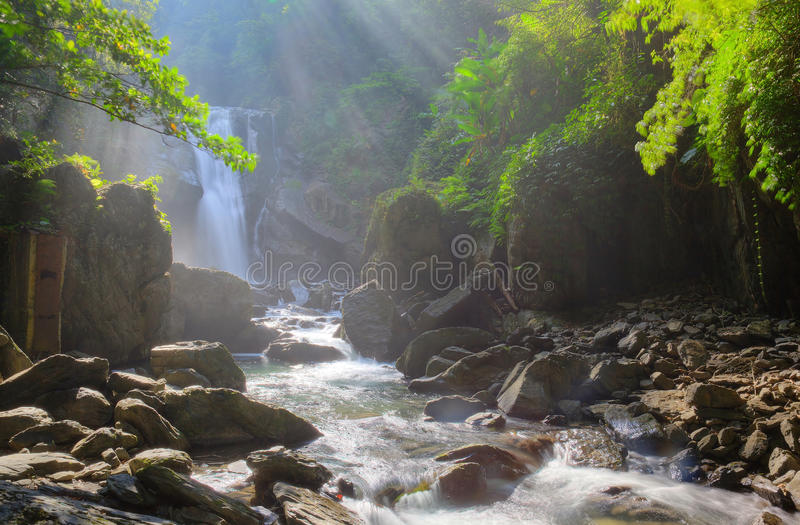 A cool refreshing waterfall in a mysterious forest with sunlight shining through the lavish greenery stock photography