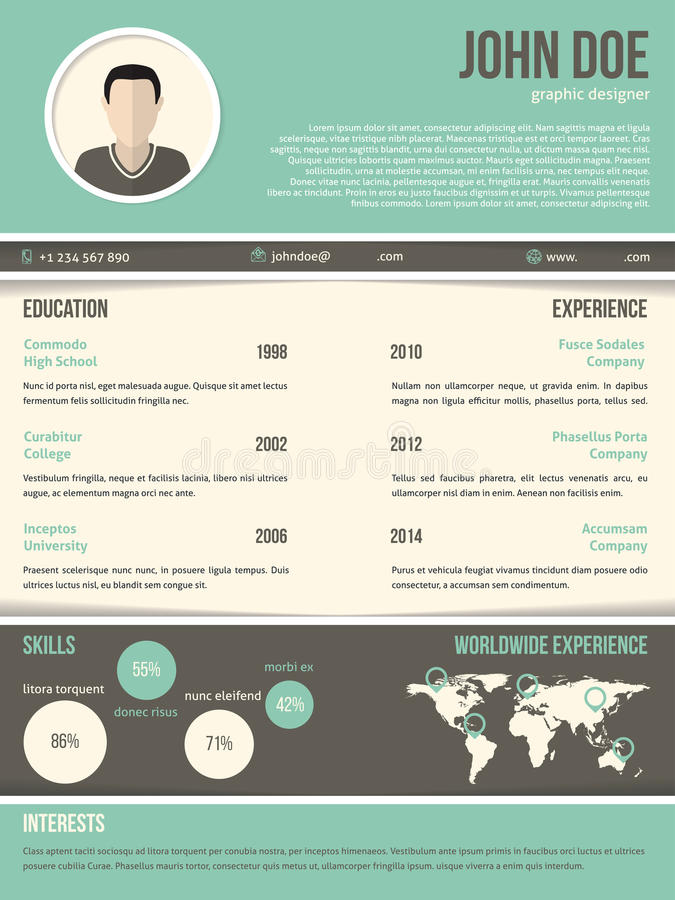 cool resume cv design with dark and light contrast stock illustration