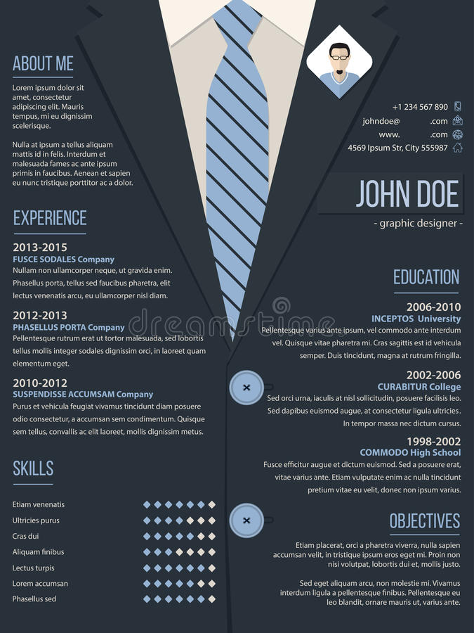 cool resume cv template with business suit background stock illustration
