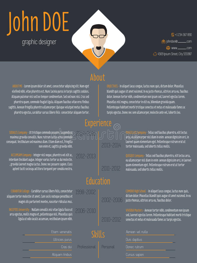 Cool Resume Cv Template With Business Suit Background Stock Illustration Illustration Of Header Experience 55904473