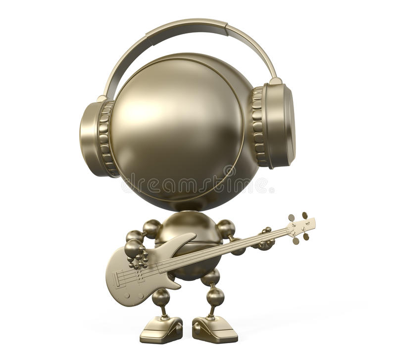 Cool Robot Musician Plays Guitar In Headphones Royalty Free Stock Photography