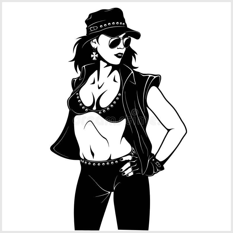 Cool rocker girl. Vector illustration isolated on white stock illustration