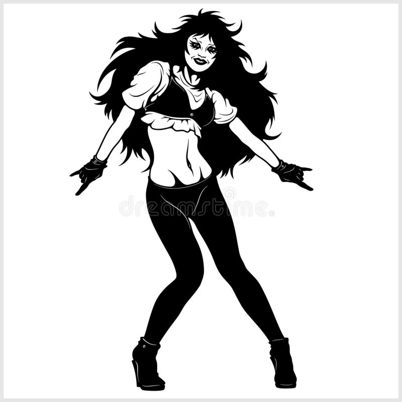 Cool rocker girl. Vector illustration isolated on white royalty free illustration