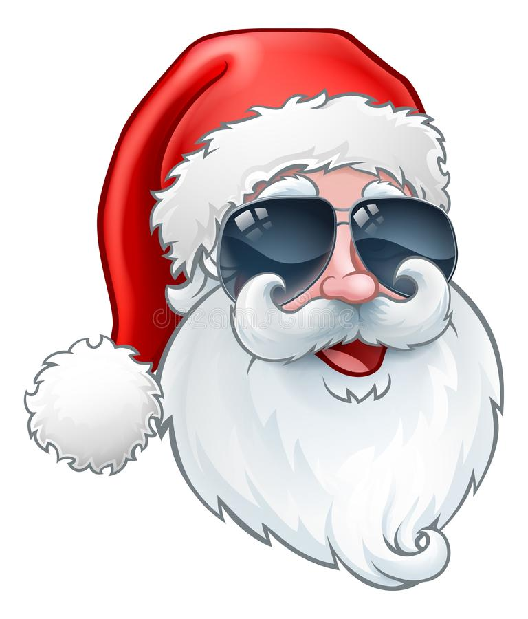 Cool Santa Claus Christmas Cartoon in Shades royalty free illustration