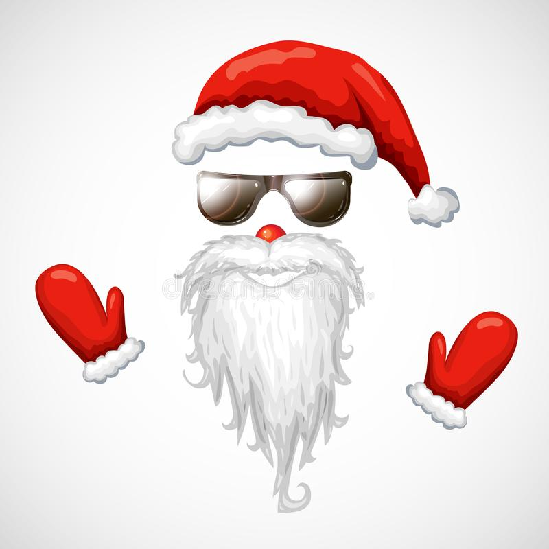Cool santa claus vector illustration. red santa hat, sunglasses, beard isolated on white. hipster santa face mask in sunglasses. vector illustration