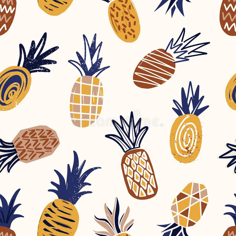 Cool seamless pattern with textured pineapples on light background. Backdrop with tropical fresh ripe juicy fruits royalty free illustration