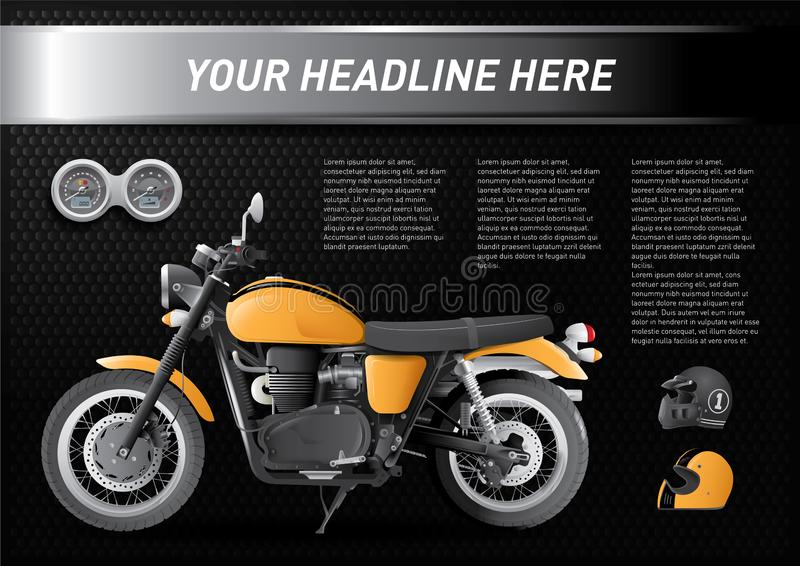 Cool set of motorbike with speedometer and helmets on black background stock illustration