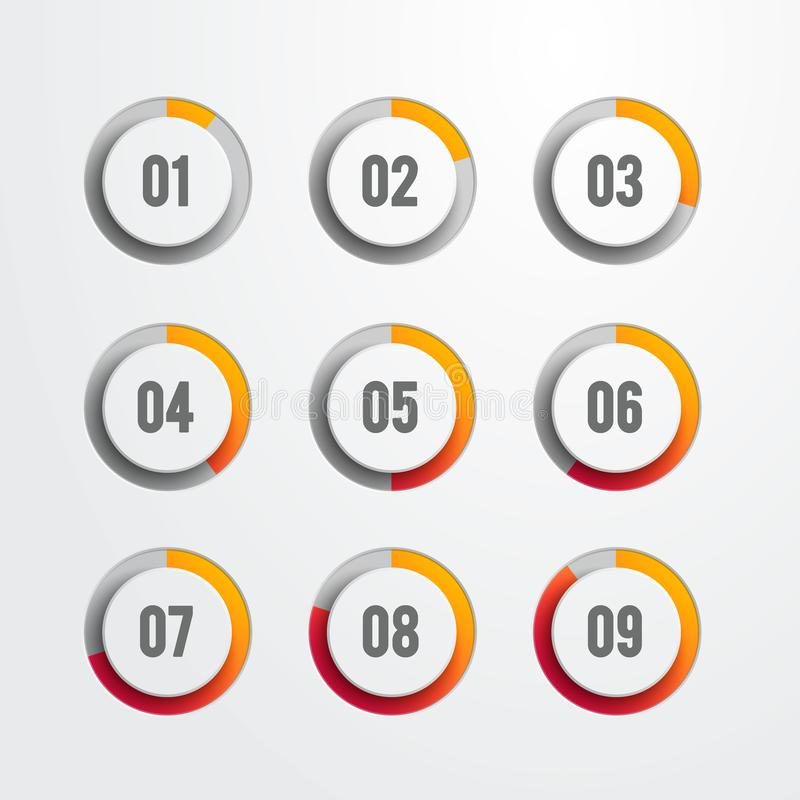 Set of nine circular progress bar icons. Timer icon interval in modern style for download display. Vector web element stock illustration