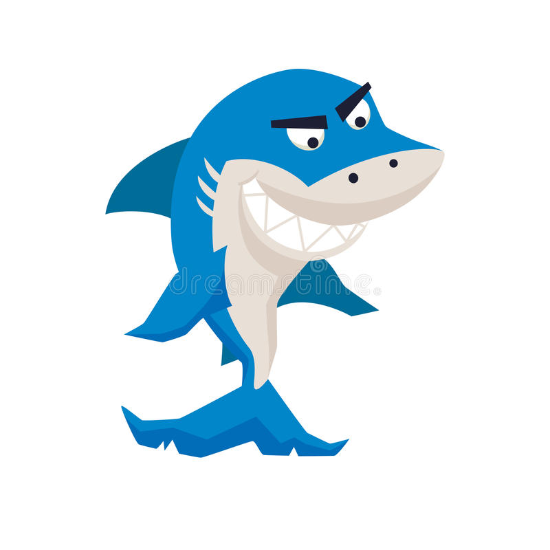 Cool shark. Funny monster. Print. Cute vector illustration. Comic sea character stock illustration
