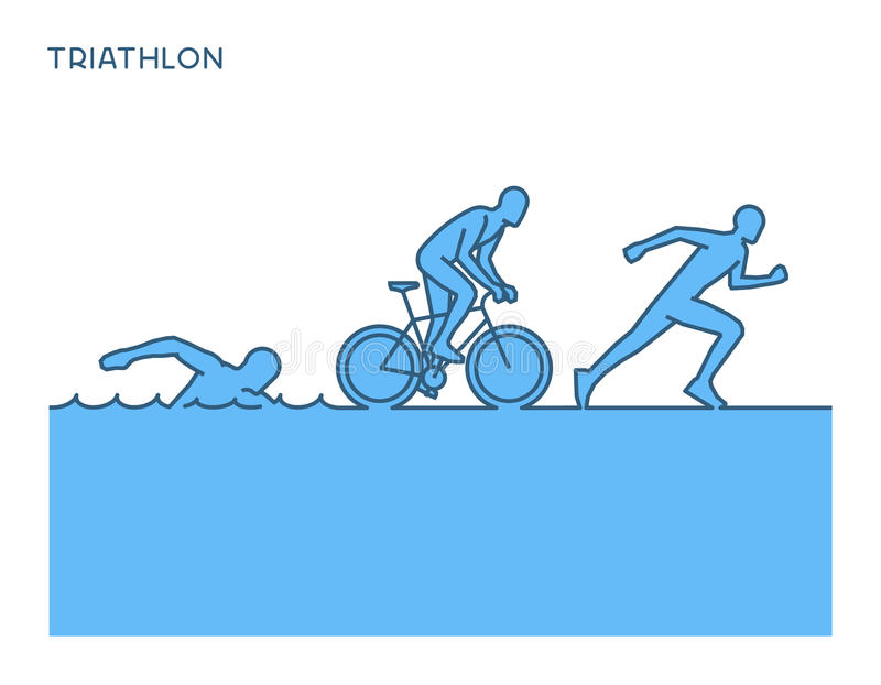 Cool silhouettes of triathletes. stock illustration