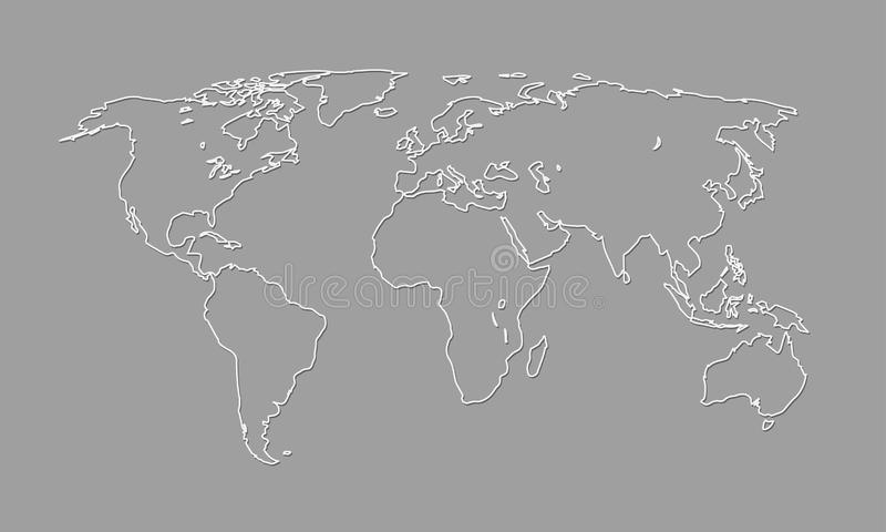 A cool and simple black and white world map outline of different countries and continents vector illustration