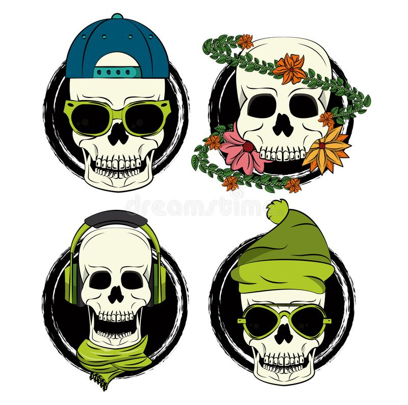 Cool skull print for tshirt. Cool skulls prints for tshirt collection vector illustration graphic design stock illustration
