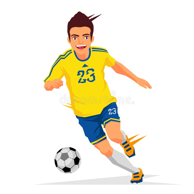 Cool soccer player in a yellow shirt. Vector illustration on white background. Sports concept stock illustration