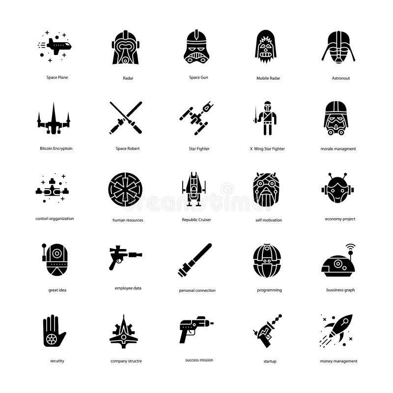 Star War Solid Icons Set royalty free illustration