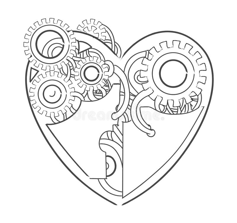 Cool steampunk mechanical heart, hand drawn illustration.  stock illustration