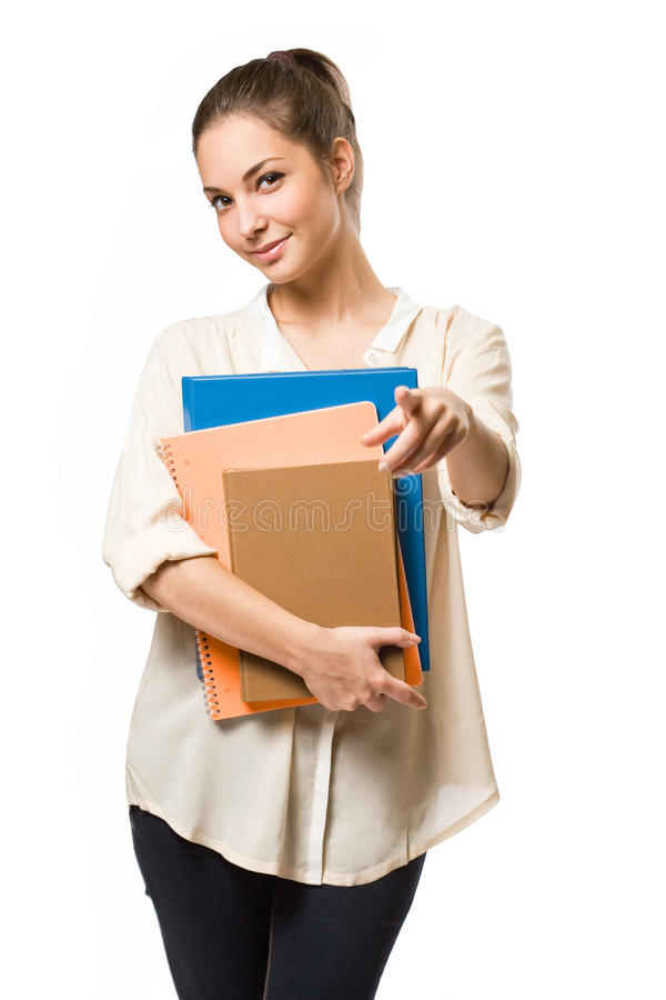 Cool Stylish Young Student Girl. Stock Photos
