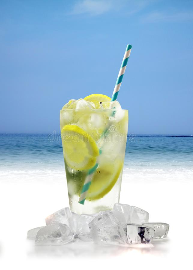 Cool summer drinks with ice and fruit royalty free stock photo