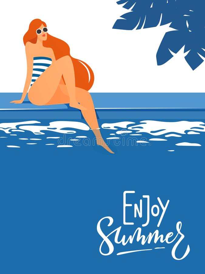 Vector enjoy summer poster with cute lady near a swimming pool. stock illustration