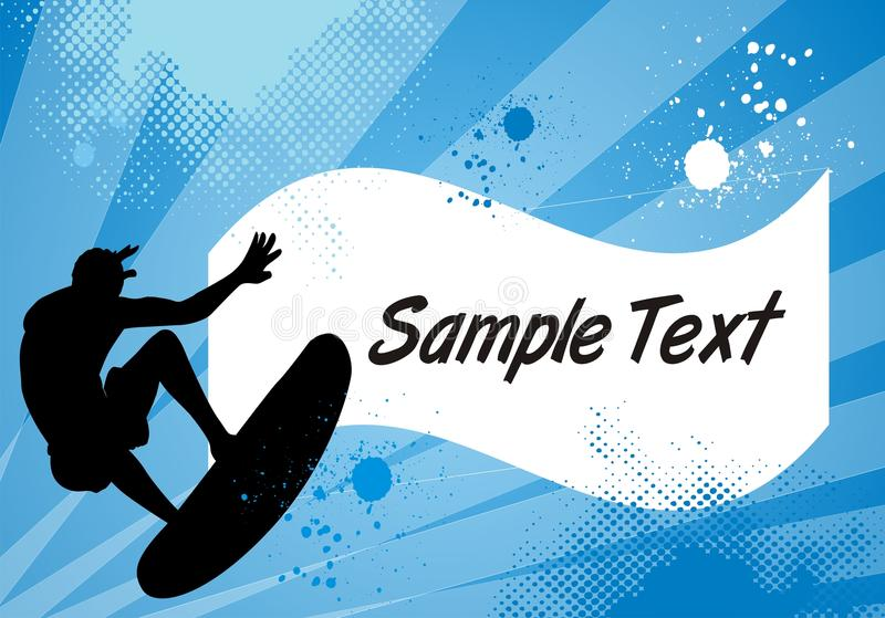 Cool Summer Surfer Background. Background with surfer and abstract elements with black space to fill stock illustration