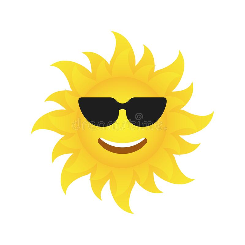 Cool sun icon. vector illustration royalty free illustration