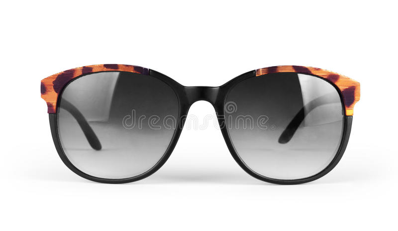 Cool sunglasses isolated on white background. In black plastic f royalty free stock photography